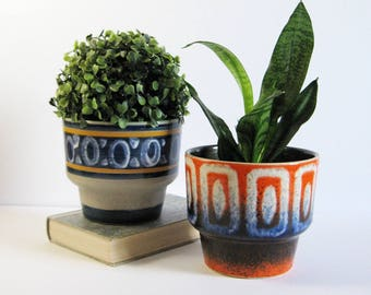Vintage Ceramic Planter - Blue Stripes or Orange Speckled Glaze Ceramic Flower Pot - Mid Century Modern Home Decor - Cactus Succulent Pot
