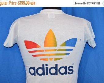 ON SALE 80s Adidas Rainbow Trikot Trefoil Bob Wieland Walk for Hunger White Vintage  t-shirt Youth Large
