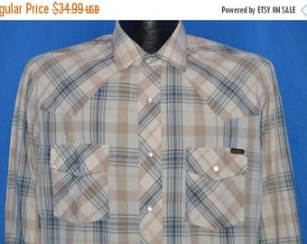 XMAS in JULY SALE 80s Sears Brown Tan Blue Plaid Pearl Snap Shirt Medium