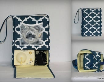 Half size Ella style Breast Pump Bag in PP Fulton Navy print