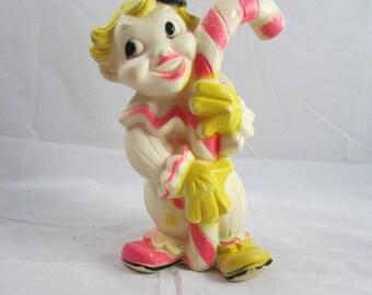 """AJC Clown Squeak Toy Rubber Squeaky 8"""" VTG 1965"""