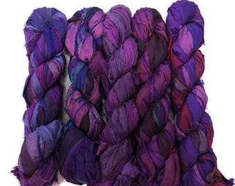 SALE New! 50g Recycled Sari Silk Ribbon, 25-28 yards , color Florence