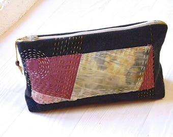 T04 clutch, zippered pocket, pocket book, natural dye