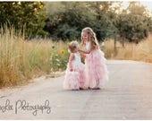 Blush Tulle Flower Girl, Ivory Lace Flower Girl, Layer Cake Smash Dress, Ballet Pink Tutu Birthday, V back, Long Tulle