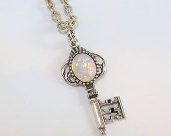 White Fire Opal Key Necklace Pendant White Opal Necklace Key Necklace Antiqued Silver Key Necklace Skeleton Key