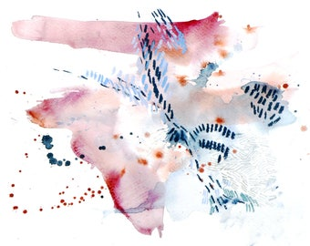 Abstract watercolor painting - Herds #8