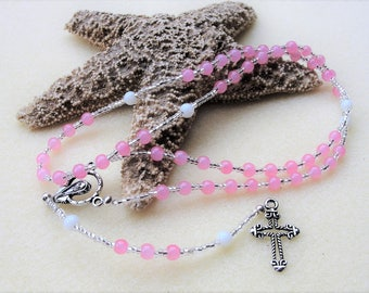 Catholic Rosary Beads,Personalized Rosary,Pink Rosary,Catholic Rosary,Baptism Gift,Confirmation Gift,Communion Gift,Prayer Beads,Rosaries