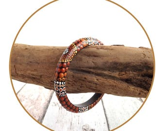 Earth Dot Painted Wood Bracelet, Authentic Australian Aboriginal Art, Boho Jewellery, wearable art, painted bangle