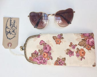 Perfect Posy Pink and White Floral Print Cotton Glasses Case with Gold Snap Fastening.