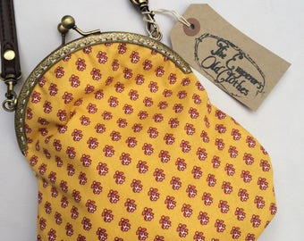 Yellow Cotton Handbag with cute red print and leather style strap handmade print bag by The Emperor's Old Clothes