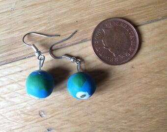 Polymer Clay/ Fimo Globe/ Earth Earrings