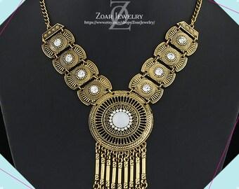 Gold Bohemian Drop Tribal Statement Necklace, Gypsy Necklace, Bohemian Necklace, Boho Necklace, Boho Jewelry, Boho Necklace Bohemian Jewelry