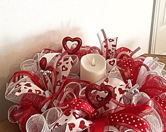 20 valentine candle centerpiecered white and silver valentine candle deco mesh arrangement