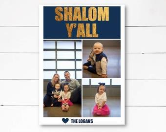 Shalom Y'all Photo Card, Hanukkah Photo Card, Holiday Photo Card, Hanukkah Card, Celebration of Light, Photo Card, DIY or Printed