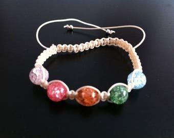 Shamballa bracelet with multicolor quartz