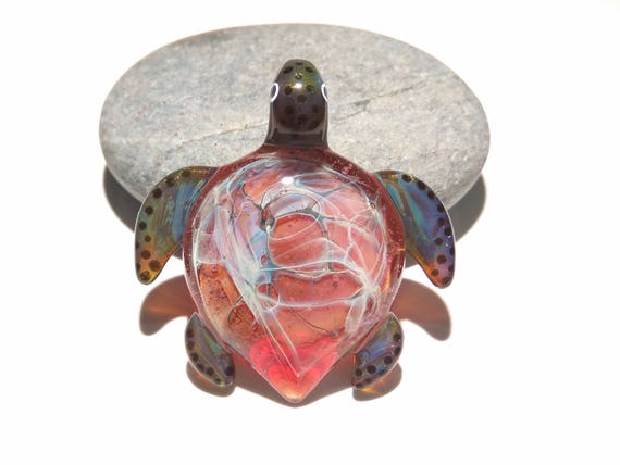 Heavenly Pink Turtle - Glass Pendant - Glass Jewelry - Glass Art - Boro Pendant - Blown Glass - Artist Signed - Gift for Her - Heady Glass