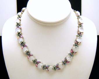 Crown Trifari White Shoebutton Glass Necklace Pink Blue AB Rhinestones Silver Tone