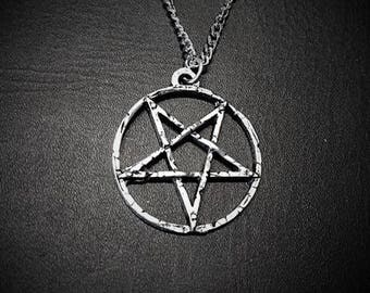 Handmade large inverted pentagram, 4cm diameter, satanic jewelry with antique finish, availlable not inverted