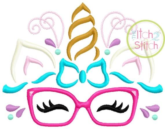 SAMPLE SALE, Unicorn Horn With Glasses Embroidered Shirt - Unicorn Horn - Unicorn Face - Unicorn Eyelashes - Unicorn Birthday Shirt
