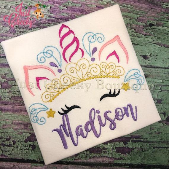 Princess Unicorn Horn Embroidered Shirt - Unicorn Horn - Unicorn Face - Unicorn Eyelashes - Unicorn Birthday Shirt