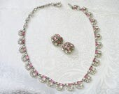 RESERVED - Robin - Vintage Signed BOGOFF Pink/Clear RHINESTONE Necklace and Earring Set - silver tone metal - clip on backs - Choker style