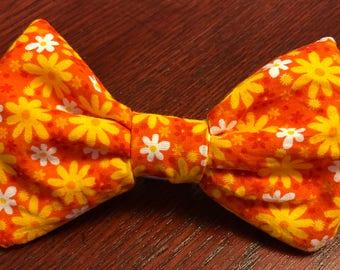 Handmade Orange Flower Pet Collar bow tie