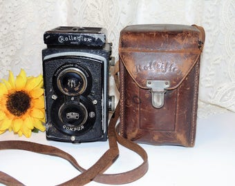 Vintage Rolleiflex Camera, Twin Lens Camera Carl Zeiss Lens, DRP Compur, Made In Germany, Leather Case, Camera Parts. Lens Cover, Rare