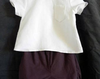 Baby set: shirt in white linen and Burgundy bloomers - 12 months