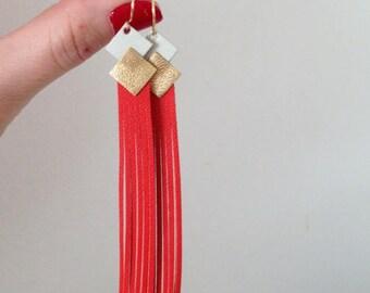 Boucles d'oreilles Cuir  'frange' Ivoire-or-orange andalou bijoux femme réalisé a la main personnalisable