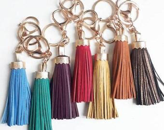 Porte-clés pompons en cuir attache en plaqué or