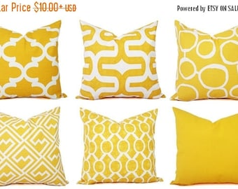 15% OFF SALE One Yellow Throw Pillow Cover - Yellow Decorative Pillows - Yellow Couch Pillows - Yellow Cushion Cover - Yellow Accent Pillow