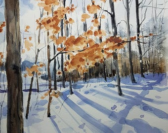 Landscape Painting, Landscape Art, Winter Painting, Snow Painting, Winter Scene