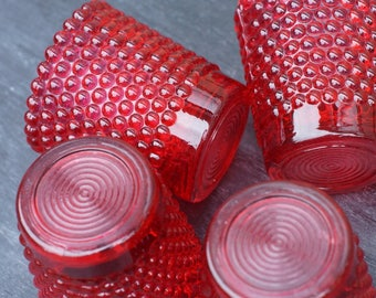 Ruby Red Votive Candle Holders  4 Thousand Eyes nesting Glass Candle Cups Candle lights Hobnail