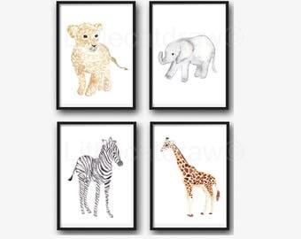 Animal Print Set Watercolor Painting Prints Set Of 4 Safari Print Nursery Decor Nursery Wall Art Baby Animal Prints Nursery Decor Art Prints