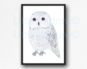 Owl Print Bird Print Snowy White Owl Bird Watercolor Painting Art Print Watercolour Wall Art Nursery Decor Bedroom Wall Decor