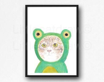 Cat Print Tabby Cat Wearing Frog Hoodie Watercolor Painting Art Print Tabby Cat Wall Art Cat Lover Gift Art Print Wall Decor Unframed