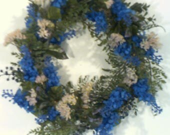 Blue Lilac Wreath, Floral Wreath, Small Wreath, 14 inch Wreath, Summer Floral Wreath, Spring Floral Wreath