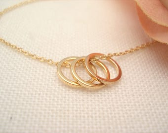 Gold Karma, Eternity, Circle rings, Forever infinity necklace, handmade jewelry, simple everyday, wedding, sisters, bridesmaid jewelry