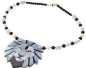 Vintage Lee Sands Lion Head  Rose Quartz Mother of Pearl  Inlaid Laminate Necklace
