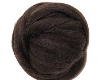 SALE Natural Corriedale  Wool Roving, Dark Brown
