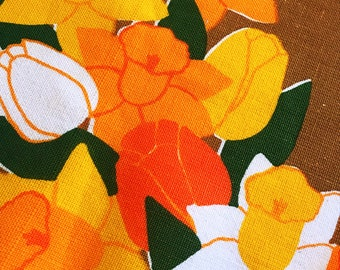 Easter mod tablecloth retro floral print 60s Retro floral fabric daffodils flower power fabric scandinavian design yellow