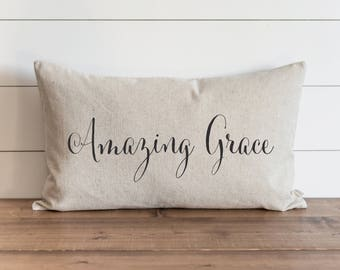 Amazing Grace 16 x 26 Pillow Cover // Everyday // How Sweet The Sound // Throw Pillow // Gift // Accent Pillow // Nursery // Faith