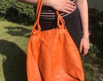 Japanese luxury designer Hamano orange leather tote/hobo bag