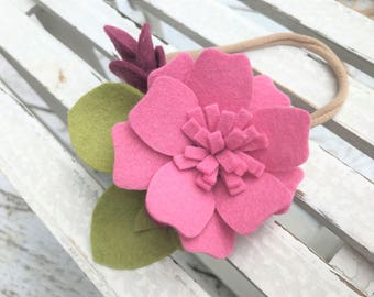 Felt flower headband - READY TO SHIP - nylon band - mauve flower headband