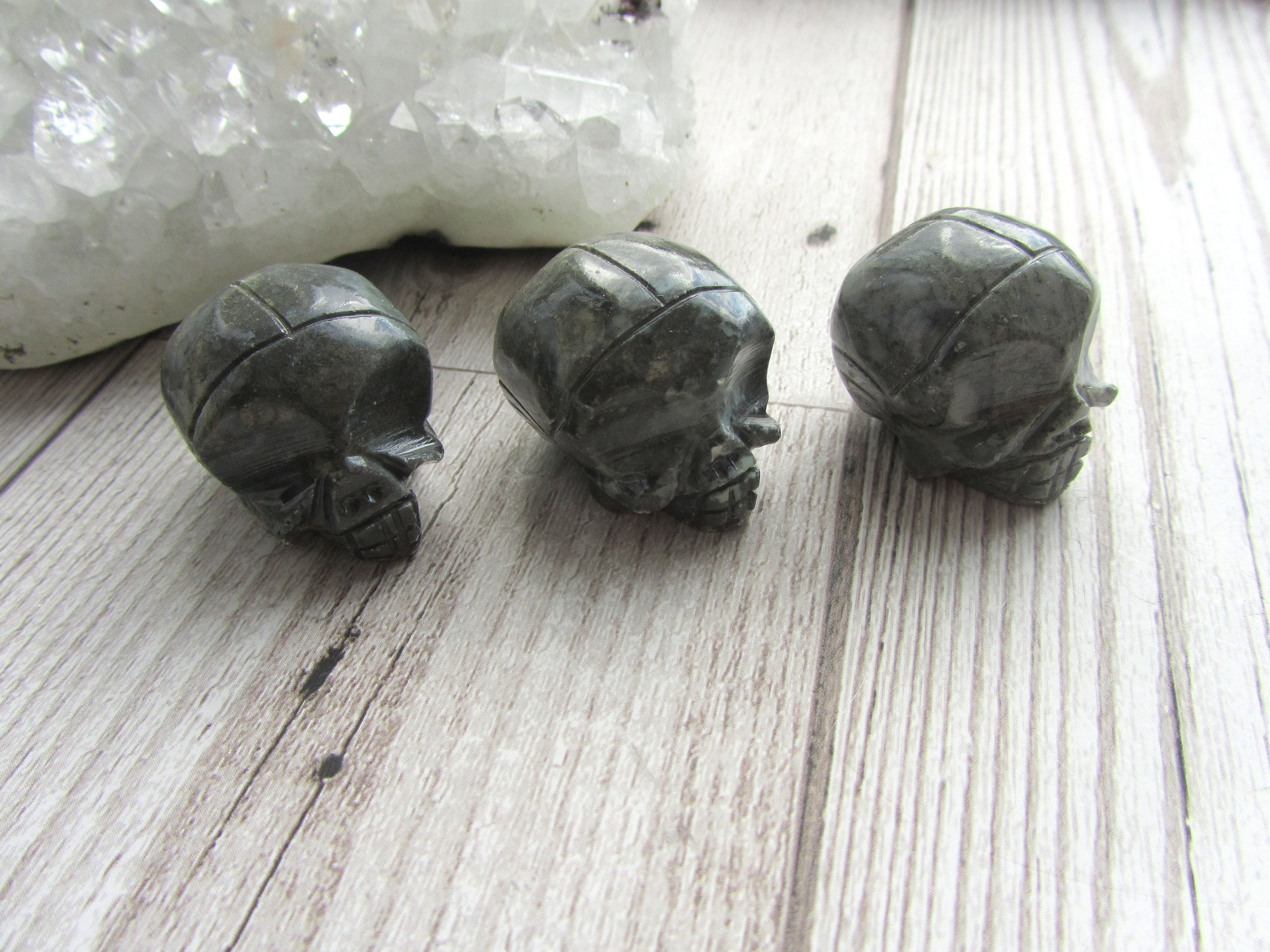 Soapstone skull carving natural stone alien polished