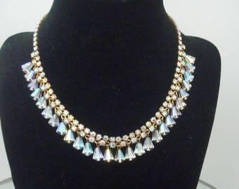 Gorgeous Vintage Rhinestone & Crystal Necklace Aurora Borealis Necklace Crystal Necklace *