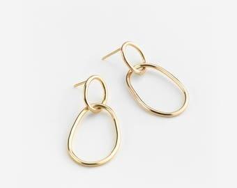 Gold Linked Hoop Earrings, Dainty Hoop Earrings, Modern 14K Gold Fill Earrings, Dainty Gold Earrings, Silver, Rose Gold