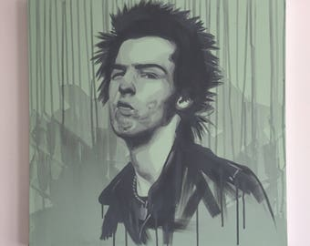 Sid Vicious original painting acrylic on canvas 60 x 60cm