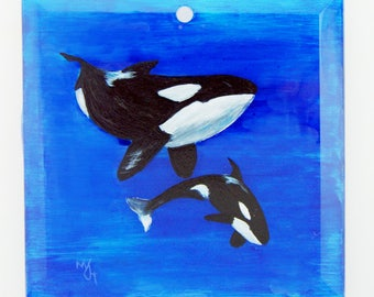 Hand Painted Glass Ornament - Orca and Calf
