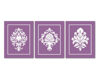 Gentil Damask Wall Art, Purple Wall Decor Purple Nursery Decor Girl Bedroom Decorations  Purple Damask Bathroom